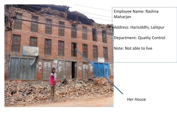 (画像は被災後の帽子工場従業員の状況です)