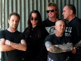 pictured with singer Angry Anderson (front) and (from left) Ian Rilen, Mick Cocks, Paul Demarco and Peter Wells, Picture: Milan Scepanovic  Source: The Daily Telegraph