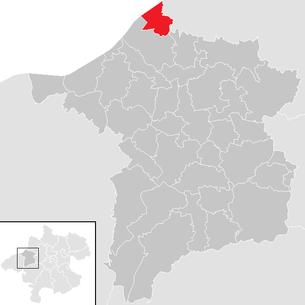 Lage der Gemeinde Antiesenhofen, im Innviertel (Oberösterreich)