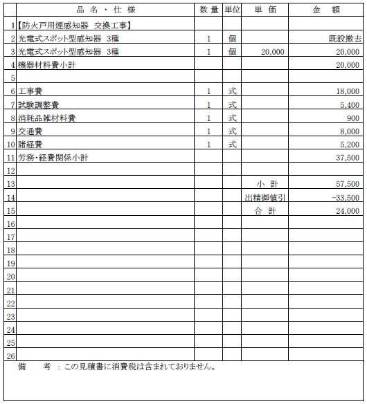 004 防火戸用煙感知器の交換工事 三条市 共同住宅 ¥24,000
