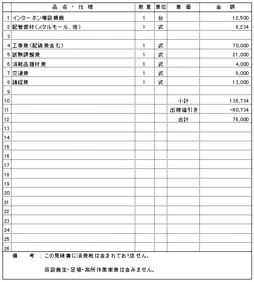 601 公共施設 新潟市西蒲区 インターホン増設 ¥76,000