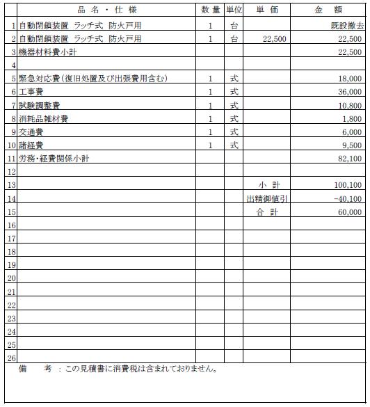 共同住宅 西区 防火戸ラッチ交換 ¥60,000