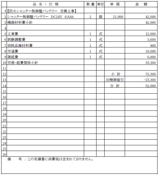 007 防火シャッター制御盤バッテリー交換工事 長岡市 老人短期入所施設 ¥52,000