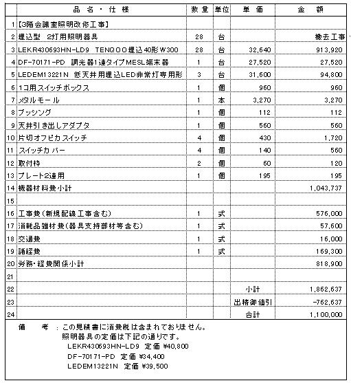 903 事務所ビル 三条市 LED照明設備改修 ¥1,100,000