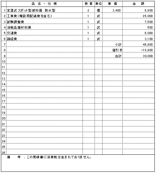107 建設資材倉庫 新潟市西蒲区 未警戒区域感知器増設 ¥30,000