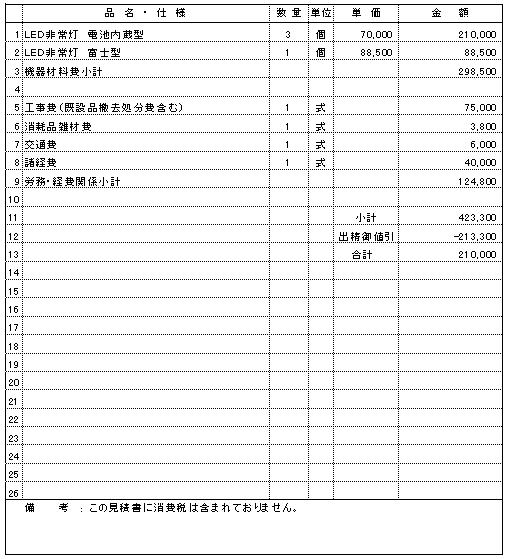 307 介護老人保健施設 新潟市秋葉区 非常照明器具交換 ¥210,000