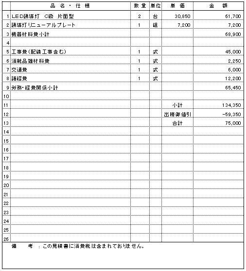 305 食品工場 新潟市東区 誘導灯増設及び交換 ¥75,000