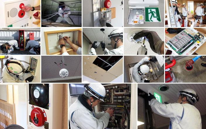 新潟市の消防設備・機器工事業者による施工の様子
