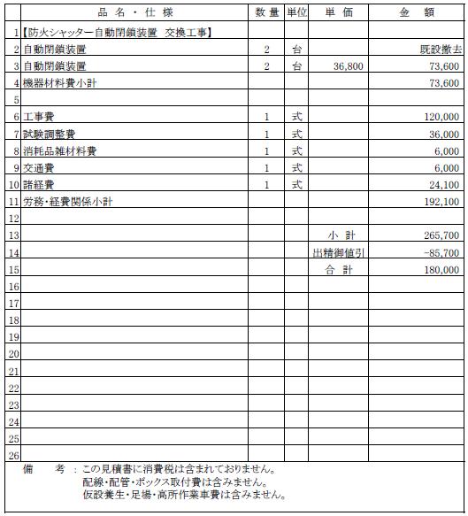 003 防火シャッター自動閉鎖装置の交換工事 新潟市中央区 遊技場 ¥180,000