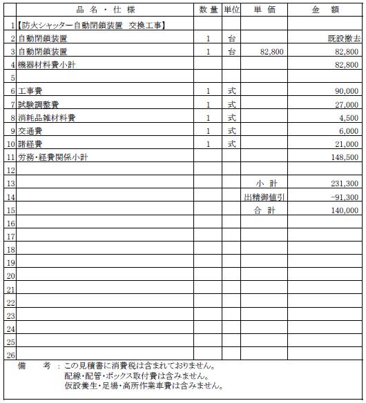 005 防火シャッター自動閉鎖装置の交換工事 新潟市中央区 専修学校 ¥140,000