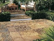 paving and pebbles patio