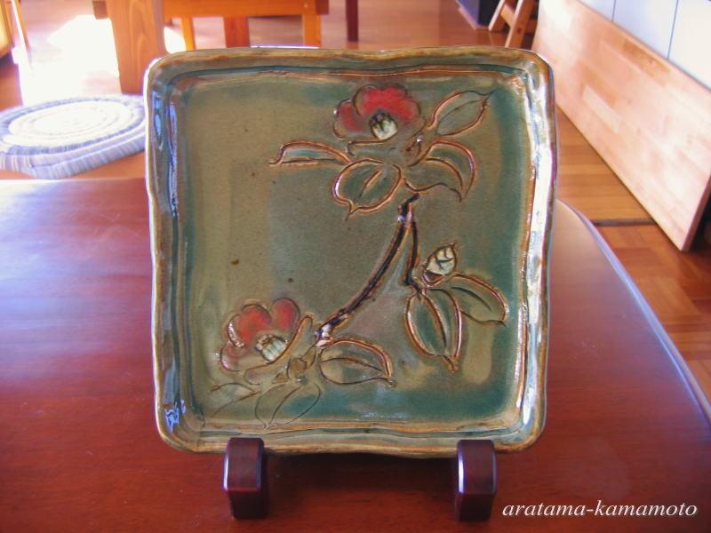 椿絵四方皿15000円