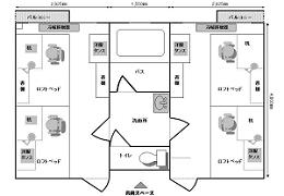 寮の「ユニット」のレイアウト:二つの2人部屋が間にある洗面所・バス・トイレを共用するレイアウトとなっており、これを1ユニットという。このユニット単位で、全国、全世界から集まる学生が共同生活する。
