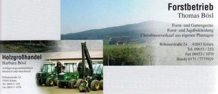 Holzgroßhandel & Forstbetrieb - Thomas Bösl - 92693 - Eslarn