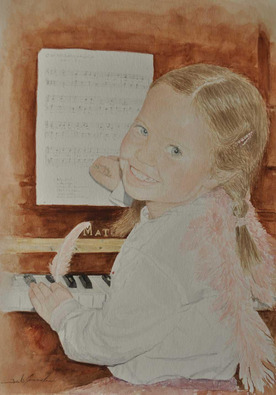 Niña con piano (Acuarela)