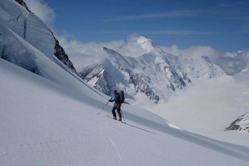 Im Hintergrund das Aletschhorn.