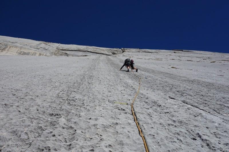 Die Messner-Route an der Neunerplatte, Dolomiten.