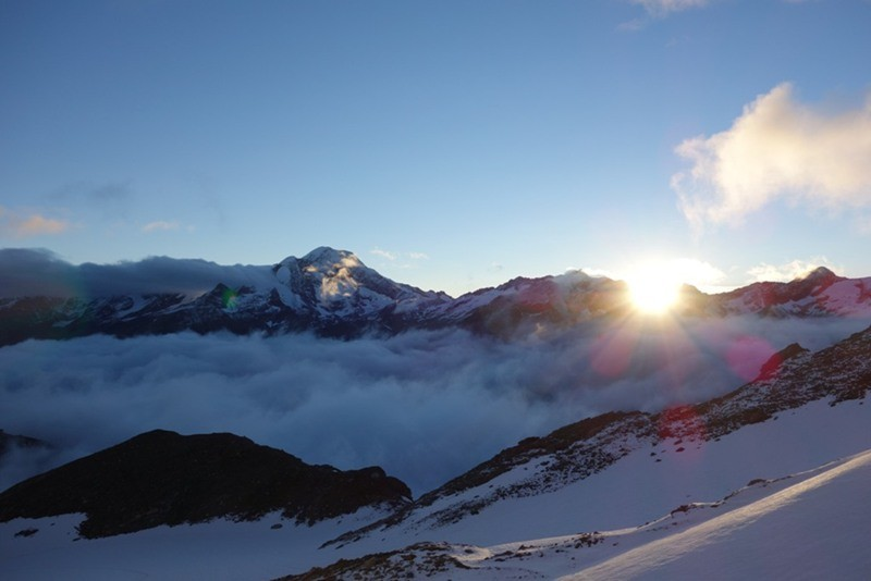 Sonnenaufgang an der Britanniahütte.