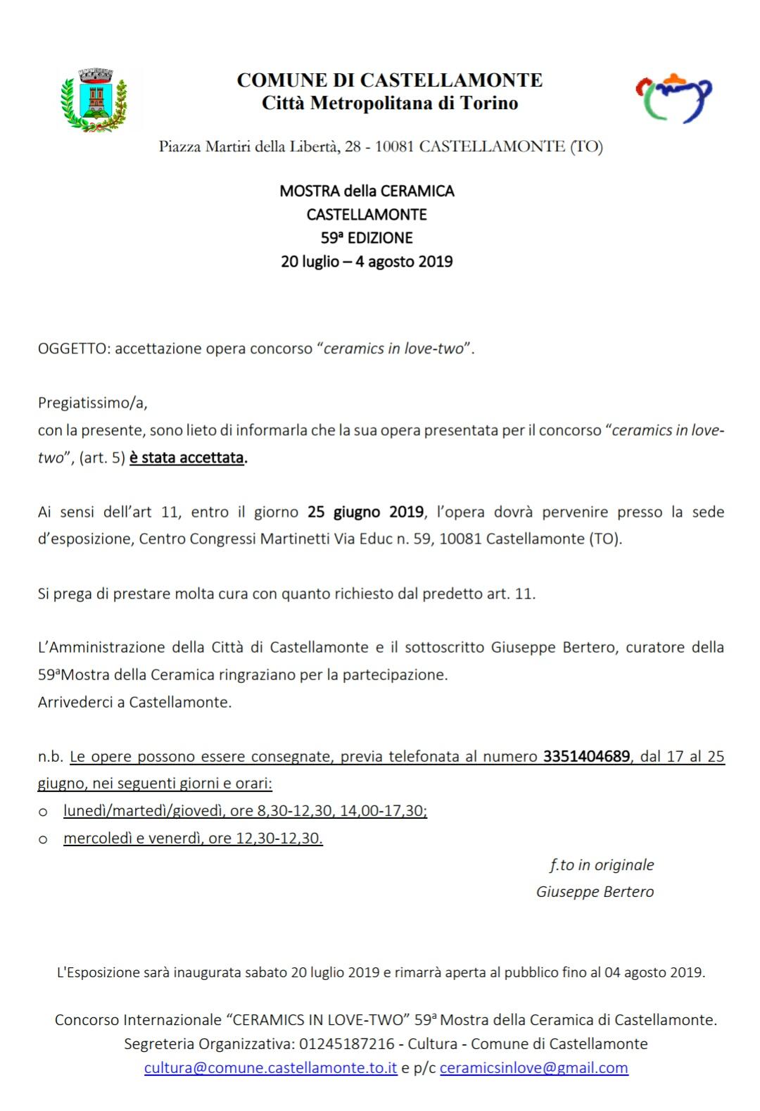 Lettera accettazione dell'opera per la sezione design