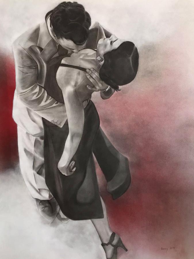 """Tango"" - Sonny Lindgens - Kohle/Acryl, 120 x 100 cm - 2011"