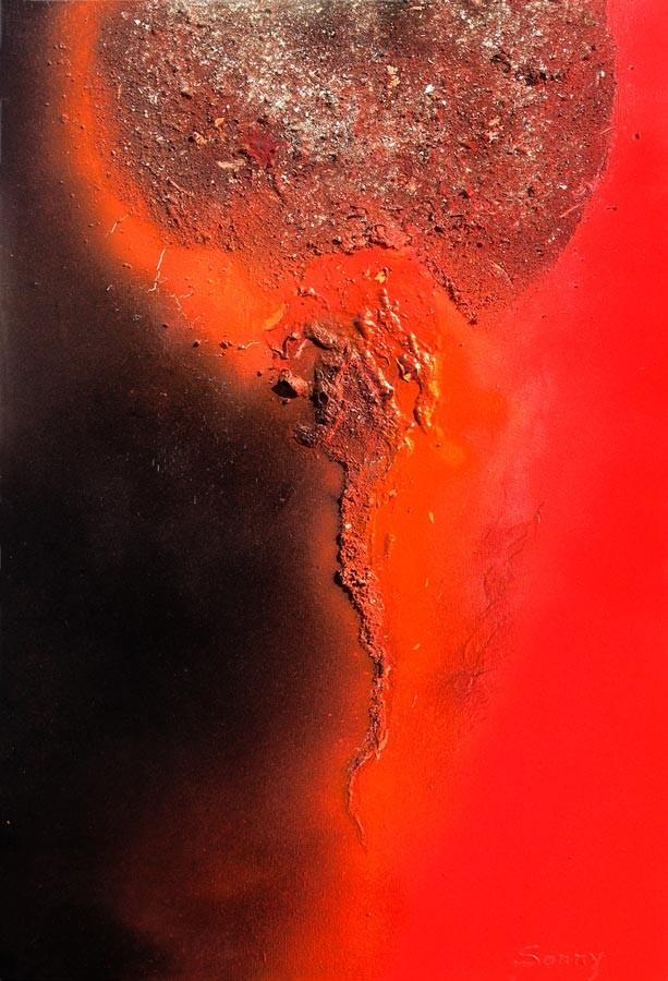 """""""Brennender Planet"""" - Sonny Lindgens - Acryl Mischtechnik auf Holz, 60 x 40 cm - 2015"""