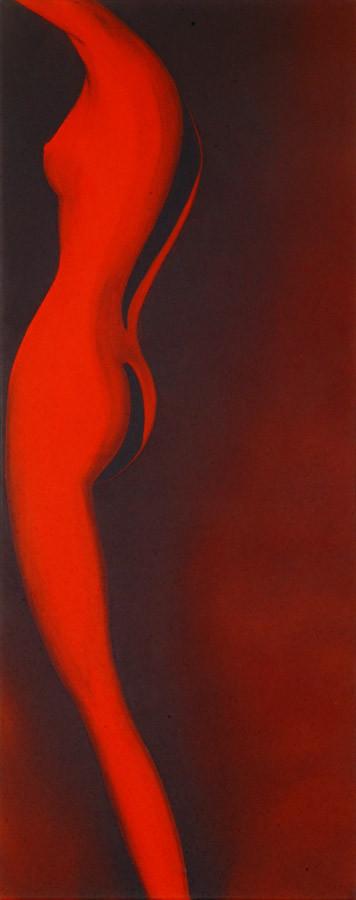 """""""Frauenakt im Halbprofil"""" - Sonny Lindgens - Acryl und Kohle auf Leinwand, 115 x 60 cm -"""