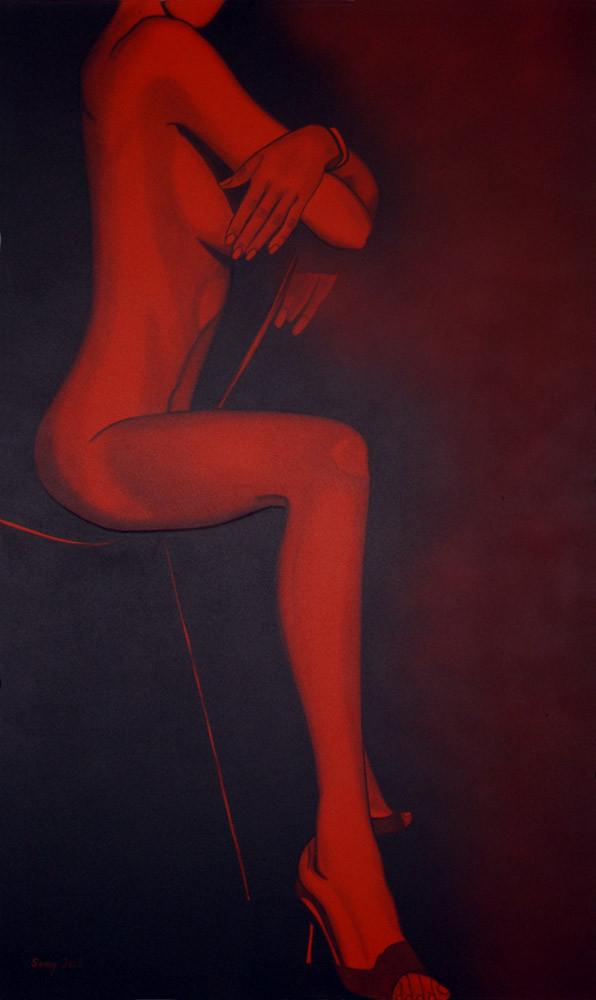 """""""Akt auf dem Stuhl"""" - Sonny Lindgens - Acryl und Kohle auf Leinwand, 150 x 90 cm - 2005"""