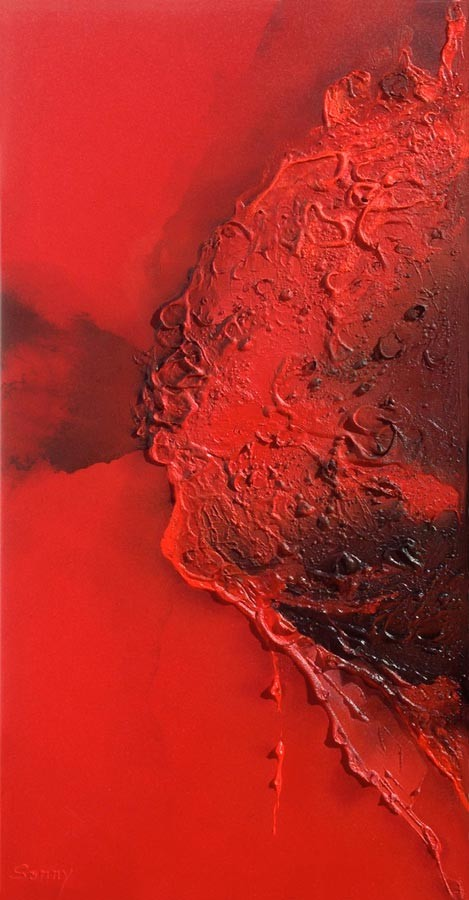 """""""Brennender Planet"""" - Sonny Lindgens - Acryl Mischtechnik auf Leinwand, 100 x 50 cm - 2015"""