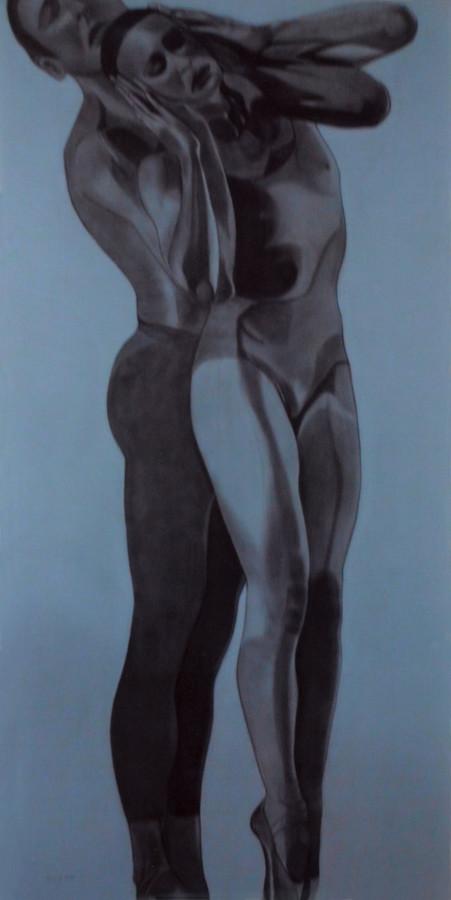 """""""Ballett bleu I"""" - Sonny Lindgens - Acryl/Pastell, 160 x 80 cm - 2011"""