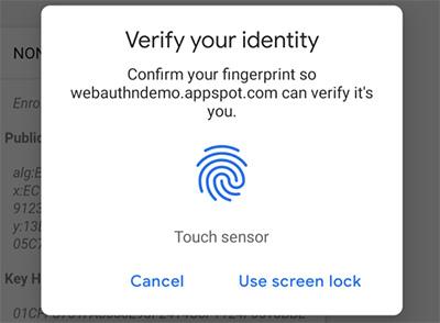 Chromeの指紋認証