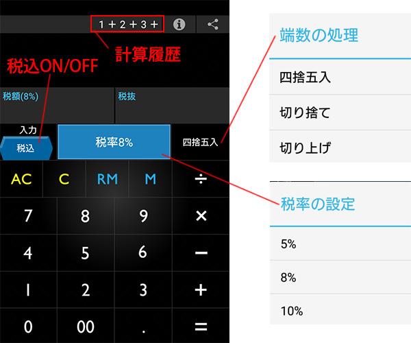 消費税電卓アプリの機能