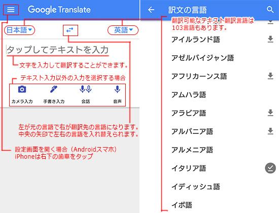 テキスト入力翻訳と基本画面