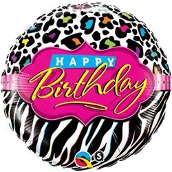 "18"" Foil Balloon Happy Birthday Zebra"