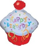 Small Foil Balloon Happy Birthday Cupcake