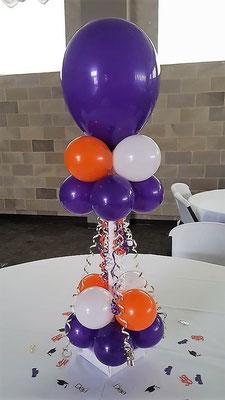 Air-Filled Balloon Centerpiece Purple White Orange