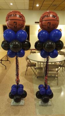 Air-filled balloon cloud blue black basketball