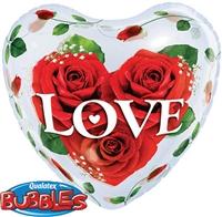 Bubble Balloon Love Roses Heart