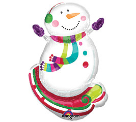 Small Foil Balloon Snowman Christmas