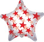 Foil Balloon Clear Red Stars