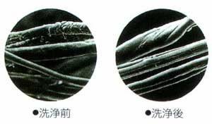 中わたの顕微鏡写真。綿の表面を保護している皮脂やロウは残し、塩分、汚れはきれいにおとします。