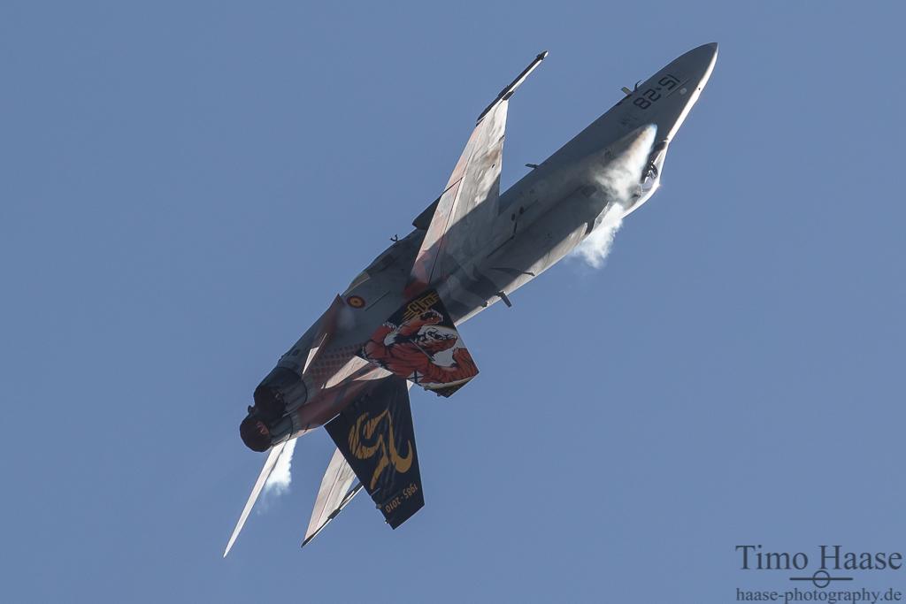"""F-18 """"Hornet"""" der spanischen Luftwaffe. 15-28 im Tiger look."""
