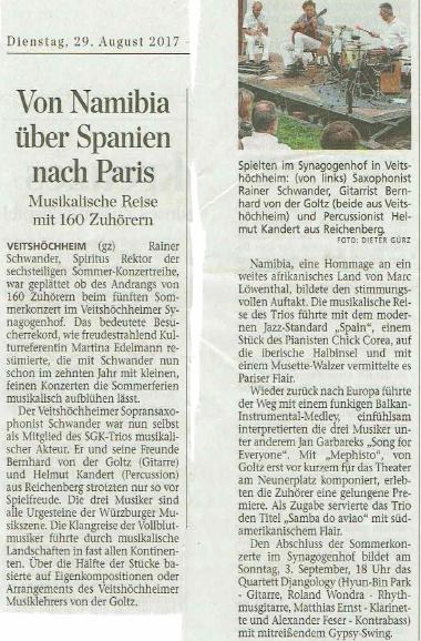 Zeitungskritik Konzert in Veitshöchheim im Synagogenhof am 27.8.2017
