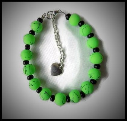 nouveau sommet outlet plutôt sympa Bracelet perles vertes fluo, rocaille noire