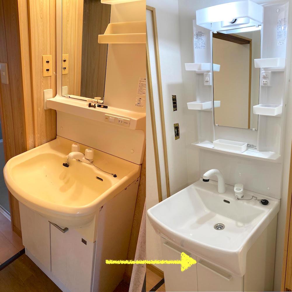 洗面化粧台を新品に変更設置しました!(徳島市)