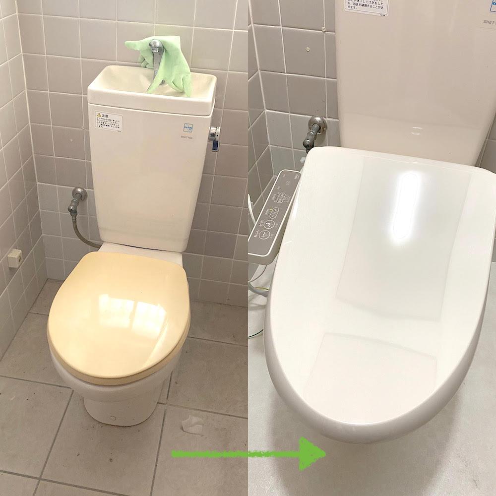 トイレリフォーム!温水洗浄便座への交換(徳島市新浜本町)