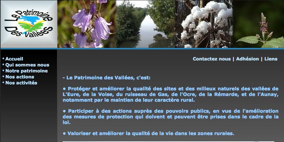 """copie de la page d'accueil de l'association """"Le Patrimoine des Vallées"""". Photo avec lien intégré vers le site."""