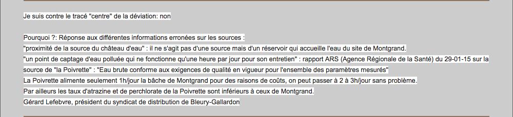 """Pétition en faveur du tracé """"Centre"""" de Monsieur Lefebvre signé en tant que président du syndicat de distribution Bleury-Montlouet"""