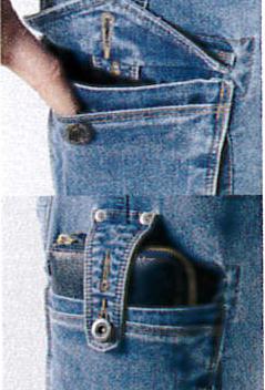 右ポケットは、長サイフも入る落下防止付、大型ポケット。