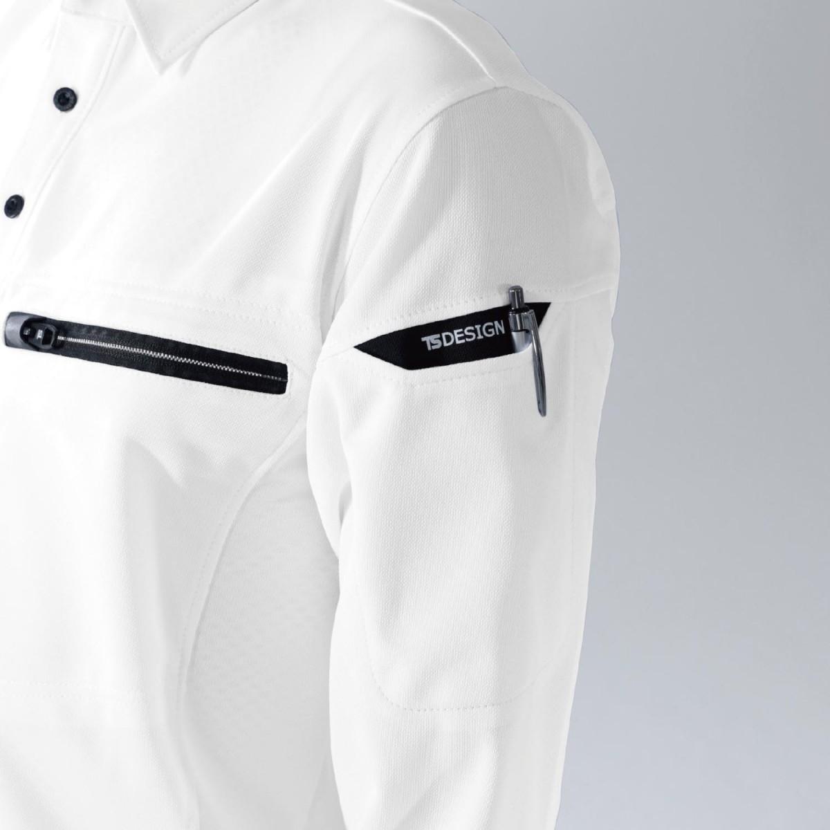 TS DESIGN 81305 ワークニットロングポロシャツ スマホ対応の左腕マルチポケットで便利です。