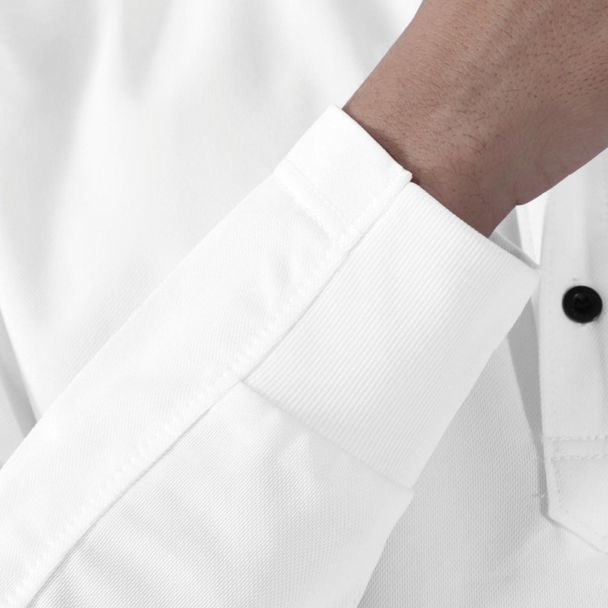TS DESIGN 81305 ワークニットロングポロシャツ 袖口にリブを採用。袖を上げてもずれにくいです。